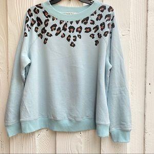 Wildfox Cheetah Print Blue Sweatshirt